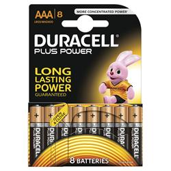 Duracell Plus AAA Batteries 8 Pack (5+3 Pack)