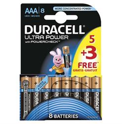 Duracell Ultra AAA Batteries 8 Pack (5+3 Pack)
