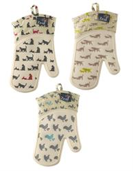 Zeal Single Oven Glove with Animal Print Waterproof Silicone Cat Dog Or Hen