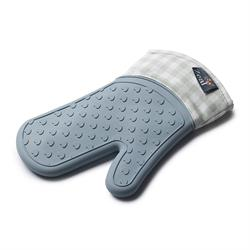 Zeal Silicone Heavy Duty Single Oven Mitt Glove Duck Egg Blue Gingham