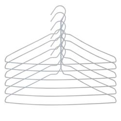 Set of 6 White Wire Drip Dry Coat Hangers