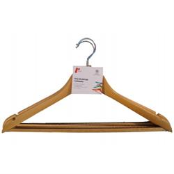 Set of 3 Shaped Maple Hangers with Non-Slip Bar