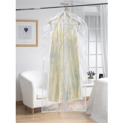 Clear Long Garment Cover with White Trim (Set of 2)
