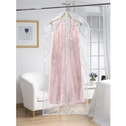 Clear Extra Long Dress Cover with White Trim (Set of 2)