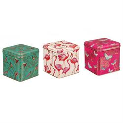 Sara Miller Set Of 3 Square Storage Tins