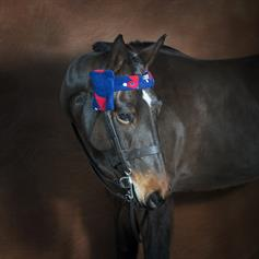 Fleece Browband Cover - Blue Horse Heads
