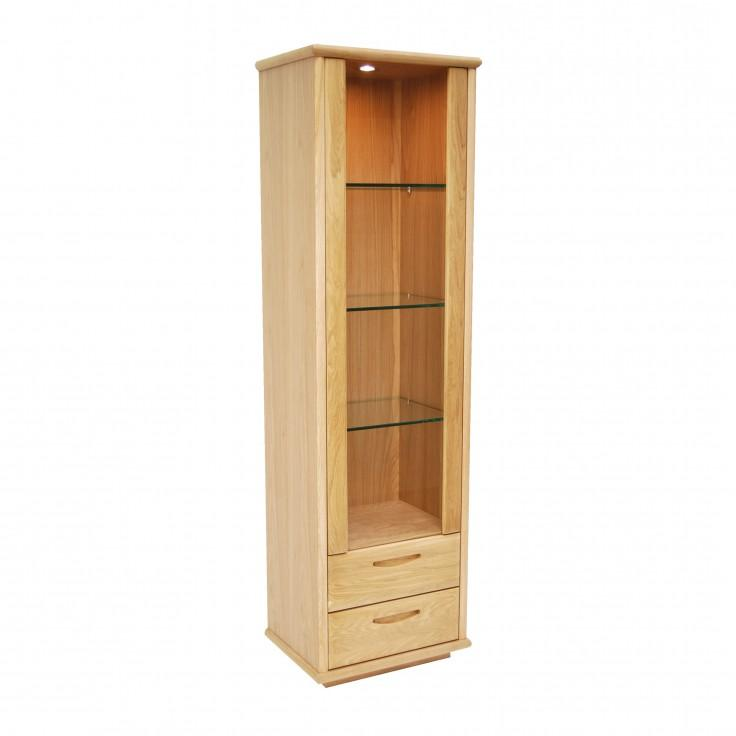 Gola- Bergen Oak- Tall Single Door Display Cabinet