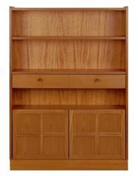 Nathan- Classic Teak- Medium Bookcase with Doors