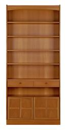 Nathan- Classic Teak- Tall Bookcase with Doors
