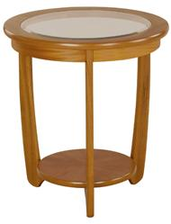 Nathan - Shades Teak -  Glass Round Lamp Table