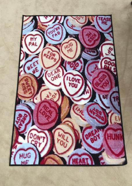 Multicolored Love Heart Novelty Rug