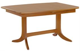 Nathan- Shades Teak- Small Boat Shaped Pedestal Dining Table