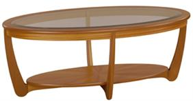 Nathan - Shades Teak -  Glass Top Oval Coffee Table