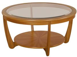 Nathan - Shades Teak - Glass Top Round Coffee Table