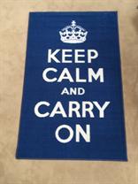 Blue Keep Calm and Carry On Novelty Rug